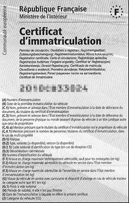 Carte grise ou certificat d'immatriculation